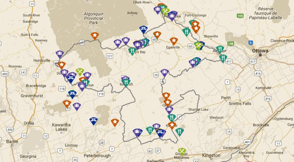 Image of interactive map displaying the Highlands Loop