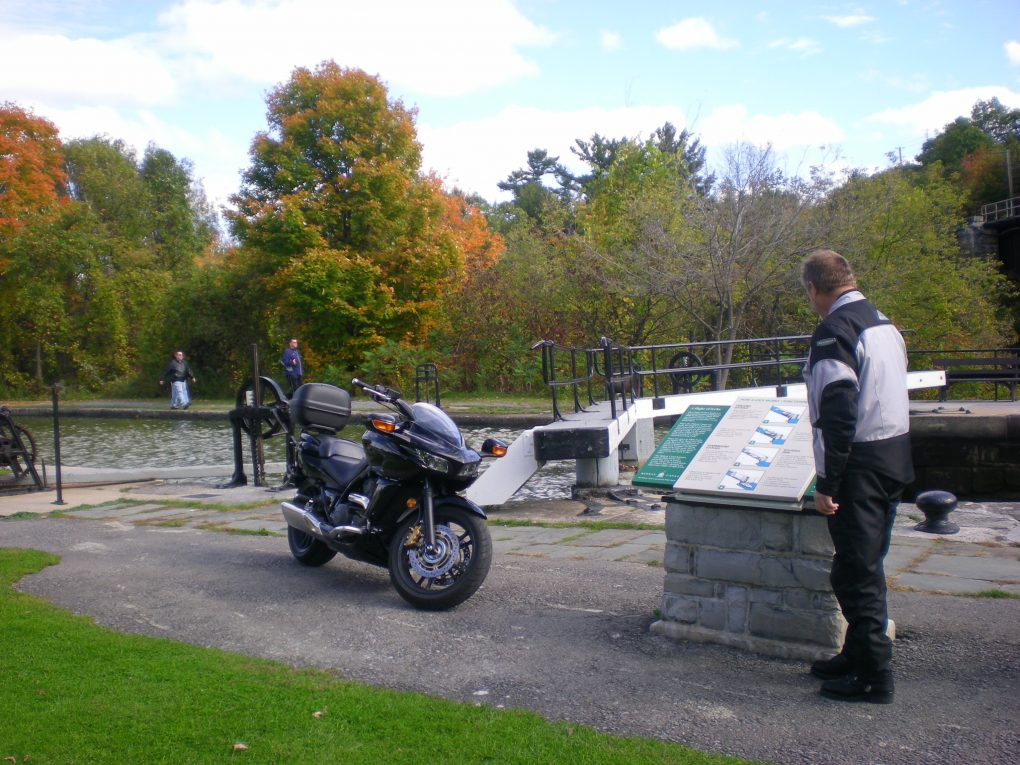 Fall Motorcycle touring at Kingston Mills Locks