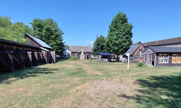 Pioneer buildings on museum grounds