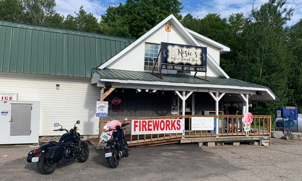 Storefront with motorcycles
