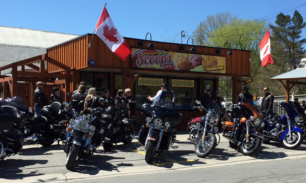 Rows of bikers outside the Scoops Ice Cream location