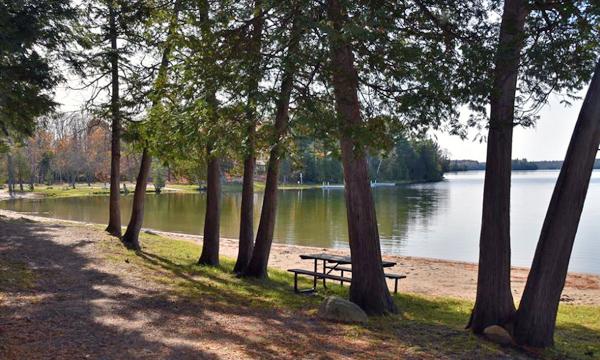 Picnic table along lake